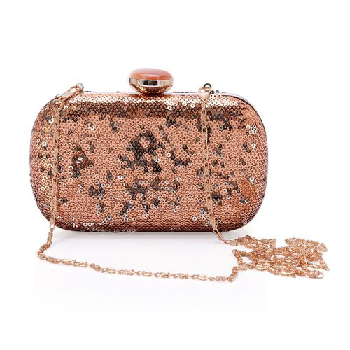 Brown and Golden Colour Sequins Clutch Bag in Gold Tone with Simulated Brown Cats Eye (Size 16x10 Cm)