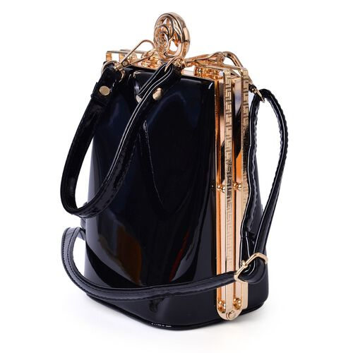 Black Colour Clutch Bag with Adjustable and Removable Shoulder Strap (Size 17x13x10 Cm)