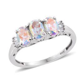 Mercury Mystic Topaz (Ovl), Diamond Ring in Platinum Overlay Sterling Silver 1.500 Ct.