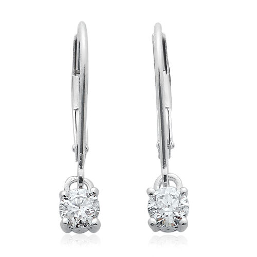14K White Gold Diamond Round Solitaire Lever Back Earrings 0.500 Ct.