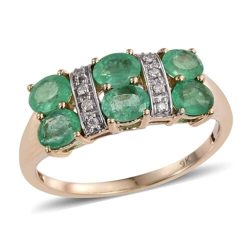 9K Y Gold Boyaca Colombian Emerald (Ovl), Diamond Ring 2.000 Ct.