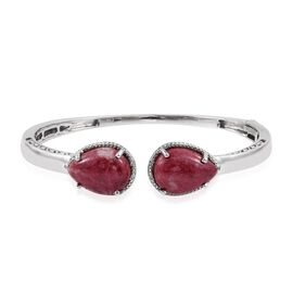 Norwegian Thulite (Pear), Diamond Bangle (Size 7.5) in ION Plated Platinum Bond 25.030 Ct.