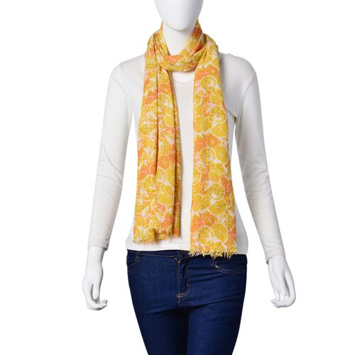 Orange Cross Section Pattern Yellow and Orange Colour Scarf (Size 180x90 Cm)