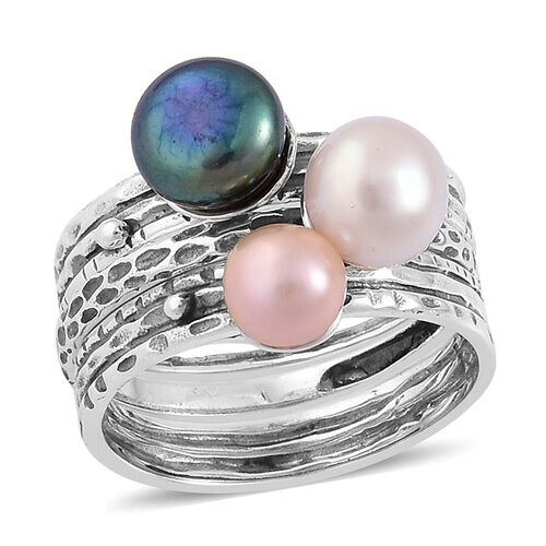 PEARL EXPRESSIONS Set of 3 - Fresh Water Peacock, Peach and White Pearl Ring in Sterling Silver