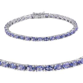 AA Tanzanite (Ovl) Tennis Bracelet (Size 7) in Platinum Overlay Sterling Silver 9.250 Ct.