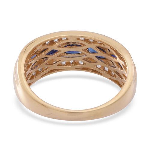 ILIANA 18K Y Gold Rare AAA Ceylon Sapphire (Ovl), White Sapphire Ring 2.000 Ct.