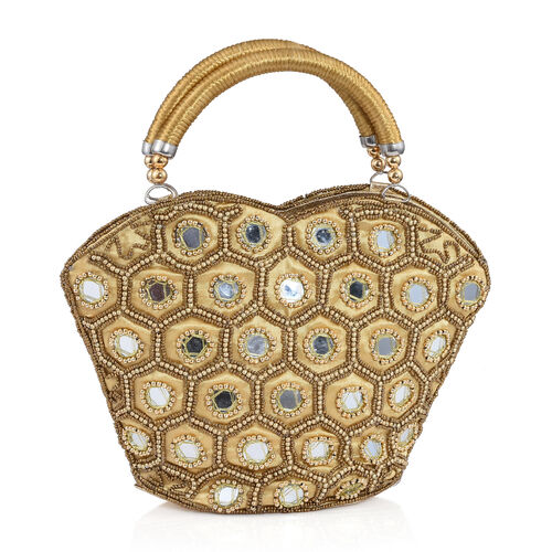 Super Auction - Limited Edition, Hand Made, Hand Set - Golden Colour Beads Embellished Golden Handbag (Size 22X18X7 Cm)