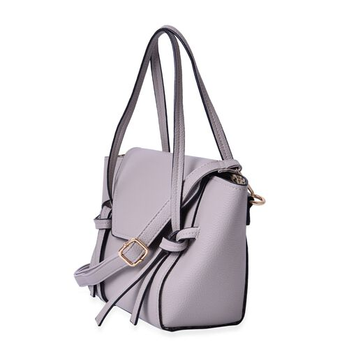 Set of 2 - Grey Colour Large and Small Handbag with Adjustable and Removable Shoulder Strap (Size 35x22x13 Cm , 20.5x14x7 Cm)