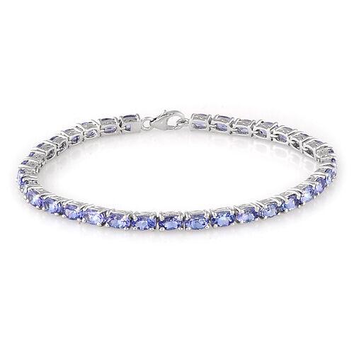 Tanzanite Platinum Overlay Sterling Silver Bracelet (Size 7.5) 8.00 Ct.