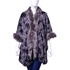 Designer Inspired White Colour Floral Pattern Grey Ruana with Faux Fur on Sleeve and Collar (Size 100x70 Cm)