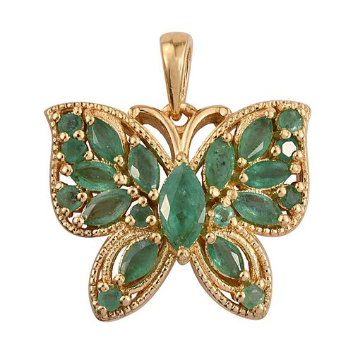 Kagem Zambian Emerald (Mrq 0.50 Ct) Butterfly Pendant in 14K Gold Overlay Sterling Silver 2.000 Ct.