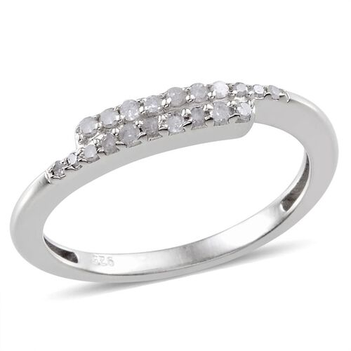 Diamond (0.15 Ct) Platinum Overlay Sterling Silver Ring  0.150  Ct.