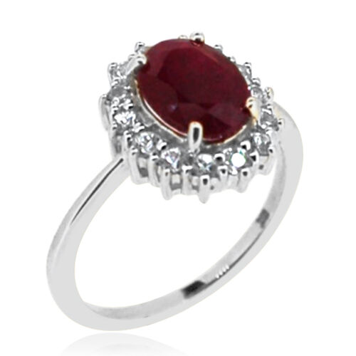 9K W Gold Burmese Ruby (Ovl 2.30 Ct), Natural Cambodian Zircon Ring 3.000 Ct.