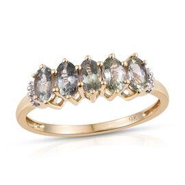 9K Y Gold AA Natural Green Tanzanite (Ovl), Diamond (I3/G-H) Ring 1.500 Ct.