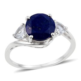 Lapis Lazuli (Rnd 2.50 Ct), White Topaz Ring in Sterling Silver 3.000 Ct.