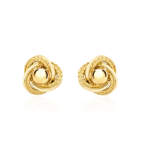 Vicenza Collection 9K Yellow Gold Knot Stud Earrings (with Push Back)