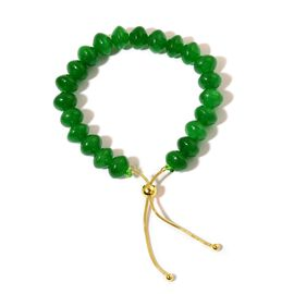Rare Green Jade Adjustable Bracelet (Size 6 to 9) in 18k Yellow Gold Overlay Sterling Silver 125.000 Ct.