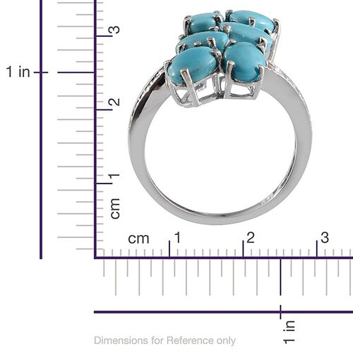 Arizona Sleeping Beauty Turquoise (Ovl), Diamond Ring in Platinum Overlay Sterling Silver 4.760 Ct.
