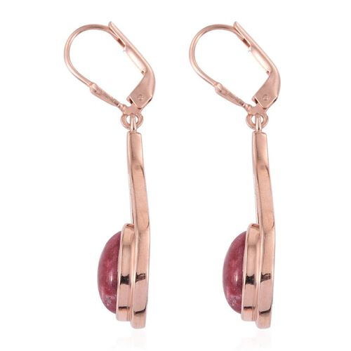 Norwegian Thulite (Ovl) Earrings in Rose Gold Overlay Sterling Silver 8.250 Ct.