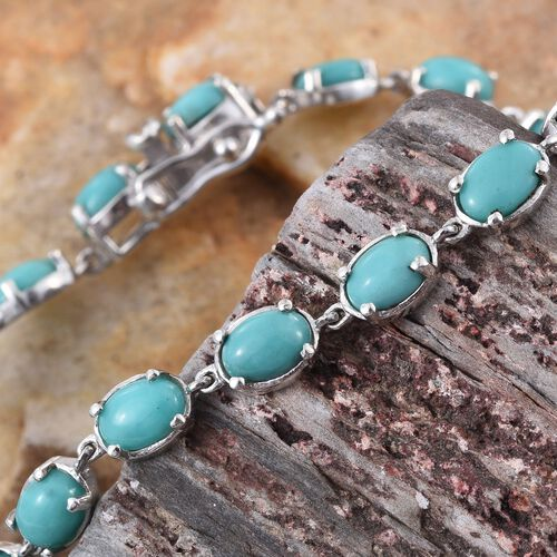 Sonoran Turquoise (Ovl) Bracelet (Size 7.5) in Platinum Overlay Sterling Silver 9.500 Ct.