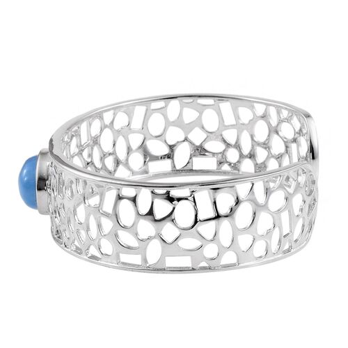 Blue Jade (Ovl) Cuff Bangle (Size 7.5) in ION Plated Platinum Bond 9.750 Ct.