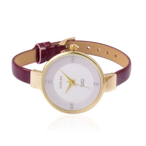 STRADA Japanese Movement White Dial with White Austrian Crystal Water Resistant Watch in Yellow Gold Tone with Stainless Steel Back and Red Wine Colour Strap
