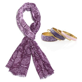 Light and Dark Purple Colour Butterfly Pattern Scarf (Size 180x70 Cm) with Matching Set of 5 Bangles (Size 8) in Gold Tone