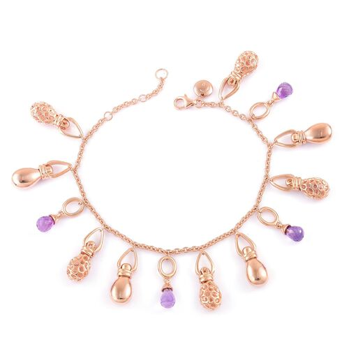 Limited Edition-RACHEL GALLEY Rose De France Amethyst Bracelet (Size 8) in Rose Gold Overlay Sterling Silver