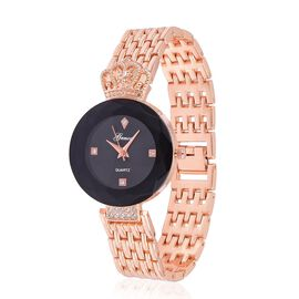 GENOA Japanese Movement Black Dial with White Austrian Crystal Water Resistant Watch in Rose Gold Tone with Stainless Steel Back and Chain Strap