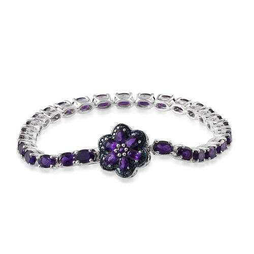 Amethyst (Ovl), Blue Diamond Floral Bracelet (Size 7.5) in Platinum Overlay Sterling Silver 13.010 Ct.