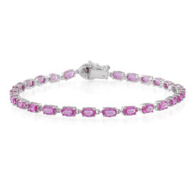 Limited Edition-9K W Gold AAA Pink Sapphire (Ovl), Diamond Bracelet (Size 7.5) 6.500 Ct.