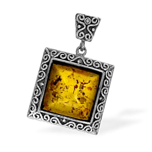 Sterling Silver Baltic Amber Pendant  20.000  Ct.