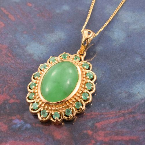 Green Jade (Ovl 7.25 Ct), Kagem Zambian Emerald Pendant With Chain in 14K Gold Overlay Sterling Silver 7.750 Ct.