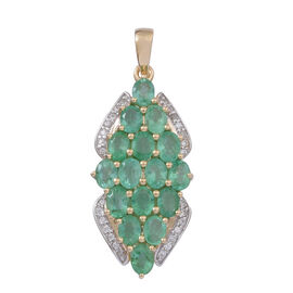 9K Y Gold AAAA Kagem Zambian Emerald (Ovl), Natural Cambodian White Zircon Pendant 2.500 Ct.