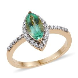 ILIANA 18K Y Gold AAA Boyaca Colombian Emerald (Mrq 0.95 Ct), Diamond (SI/G-H) Ring 1.250 Ct.