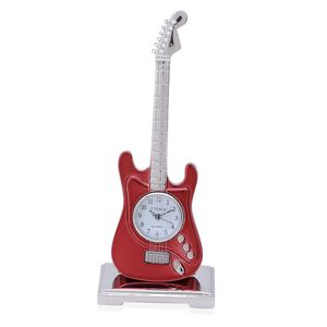 3D - STRADA Japanese Movement Red Guitar Style Table Clock