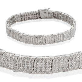 Diamond (Rnd) Bracelet (Size 8) in Platinum Overlay Sterling Silver 3.000 Ct.