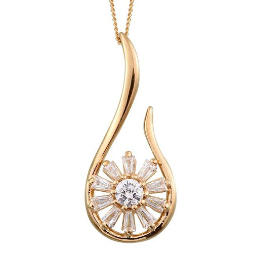 J Francis - 14K Gold Overlay Sterling Silver (Rnd) Floral Pendant With Chain Made with SWAROVSKI ZIRCONIA