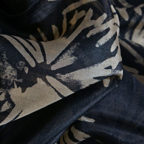 100% Mulberry Silk Black and Beige Colour Abstract Pattern Printed Pareo (Size 180x100 Cm)