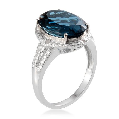 London Blue Topaz (Ovl 6.25 Ct), Diamond Ring in Platinum Overlay Sterling Silver 6.282 Ct.