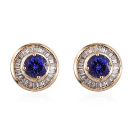 ILIANA 18K Y Gold AAA Tanzanite (Rnd), Diamond (SI/G-H) Stud Earrings (with Screw Back) 1.750 Ct.