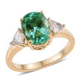 ILIANA 18K Y Gold Boyaca Colombian Emerald (Ovl 2.30 Ct), Diamond (SI/G-H) Ring 2.600 Ct.