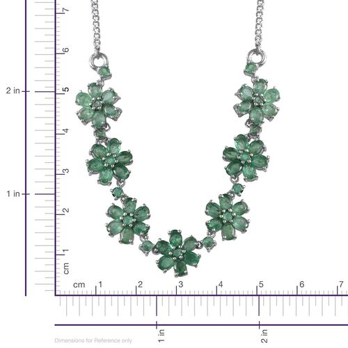 Kagem Zambian Emerald (Ovl) Floral Necklace (Size 18) in Platinum Overlay Sterling Silver 7.250 Ct.