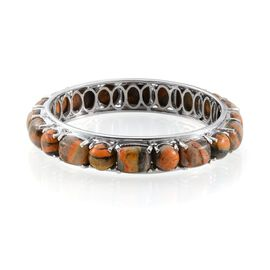 Bumble Bee Jasper (Cush) Bangle (Size 7.5) in Platinum Overlay Sterling Silver 68.500 Ct.