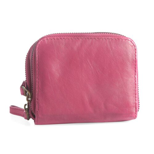 Genuine Leather RFID Blocker Fuchsia Pink Colour Ladies Wallet (Size 12x11x2 Cm)