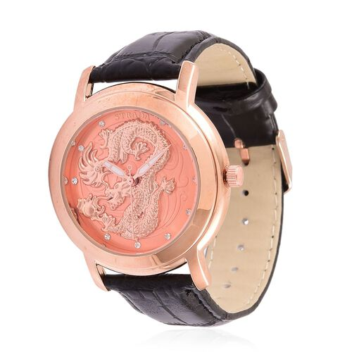 STRADA Japanese Movement White Austrian Crystal Studded Dragon Pattern Rose Gold Dial Water Resistant Watch in Rose Gold Tone with Black Colour Strap