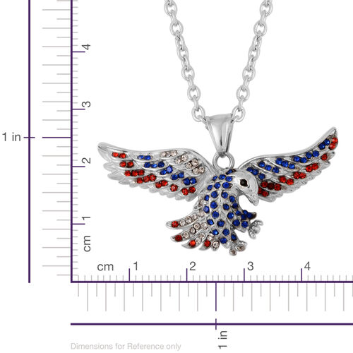 Multi Colour Austrian Crystal Eagle Pendant with Chain in Stainless Steel