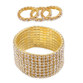 White Austrian Crystal 8 Row Stretchable Bracelet (Size 8) and Ring in Gold Tone