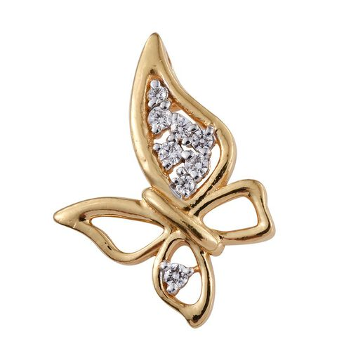 J Francis - 14K Gold Overlay Sterling Silver (Rnd) Butterfly Pendant Made with SWAROVSKI ZIRCONIA