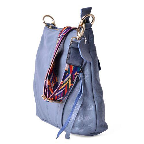 Genuine Leather Grey Colour Handbag with External Zipper Pocket and Adjustable and Removable Multi Colour Shoulder Strap (Size 25X23X8 Cm)